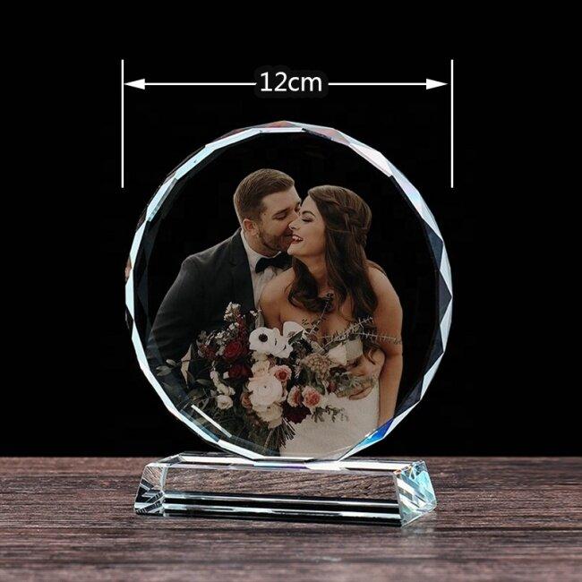 2021 Heart Shaped 3D Photo Frame Crystal 3d Laser Engraving Crystal Glass Block Crystal Trophy Awards