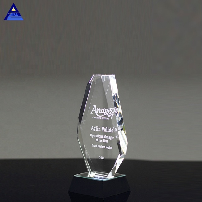 Obelisk Shape Blank Customized Accolade Diamond Crystal Trophy For Prize Presentation