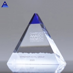 New Design K9 Quality Blue Majestic Pyramid Corporate Awards,Large Crystal Pyramid