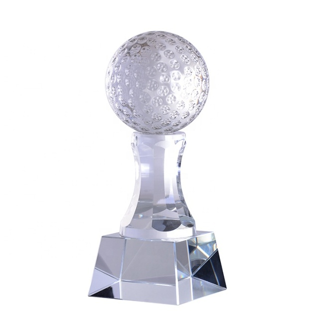 New Arrival Custom Logo Crafts Golf Engraved Sports Crystal Ball Trophy With Base