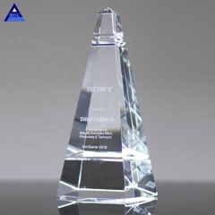 Classic Custom White Clear 3D Laser Engraving Majestic Pyramid Crystal