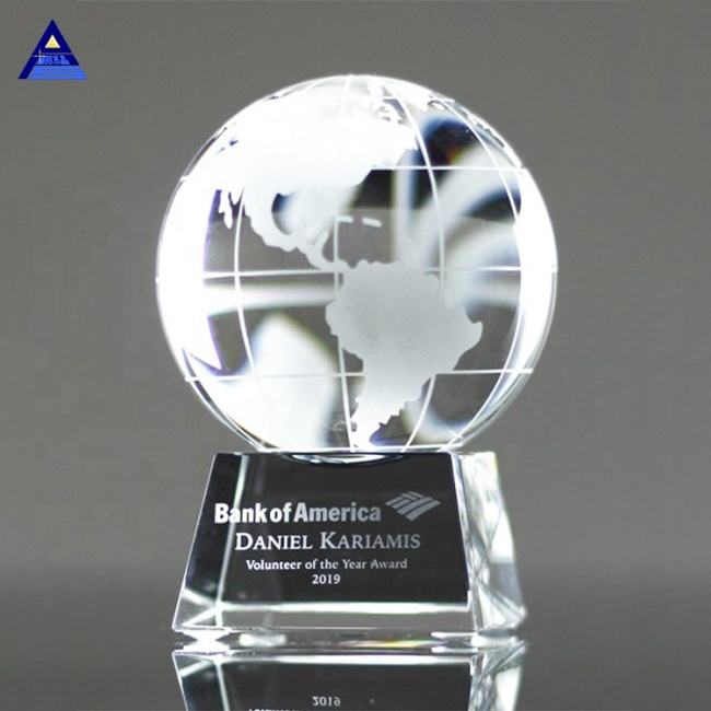 Custom Crystal Globe World Earth Trophy Awards for Teachers Children Graduation Souvenirs