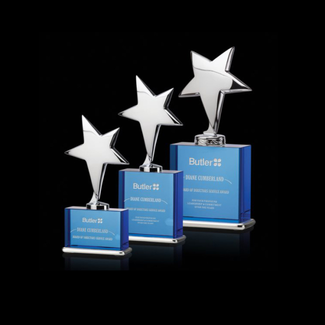 Metal Pentagram Crystal Trophy Awards New Design crystal awards and trophies