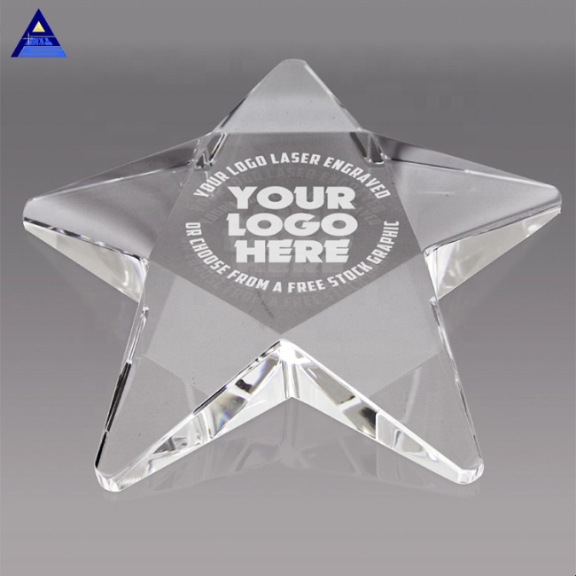 Various Styles Unique Shape 3D Laser Engraving Crystal Pentagram Paperweight For Business Souvenir Gift
