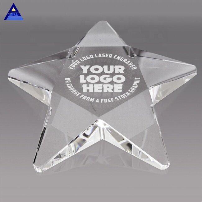 Various Styles Unique Shape 3D Laser Engraving Crystal Pentagram Paperweight For Business Souvenir Gift