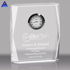 3D Crystal Engraving Decoration Crystal Clock For Wedding Souvenirs Crystal Gifts