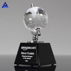 Hot Sale Souvenir Or Business Gifts Decorative Crystal World Map Glass Earth Globe