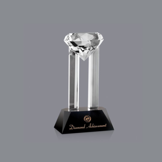 Luxury High Business custom Grade Shining Crystal Diamond Award Crystal Laser Trophy
