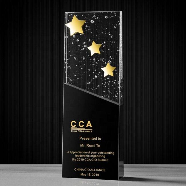 2021 New design crystal trophy award gold star crystal block blank plaque black bubble crystal trophy