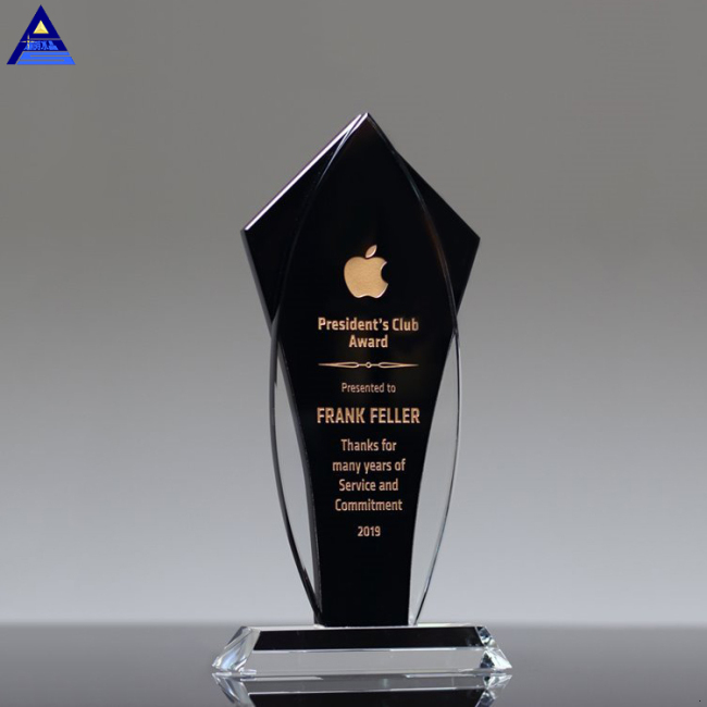 Wholesale Business Crystal Sample Award Plaques K9 Black Blank Glass Crystal Awards Plaque Trophy