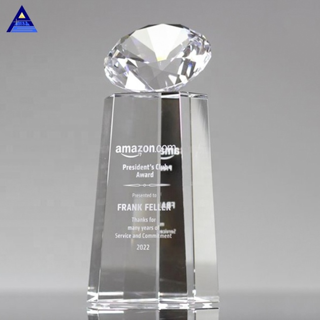 Eco-Friendly Professional Brilliant Tower Award Big Crystal Diamond Trophy With Cut