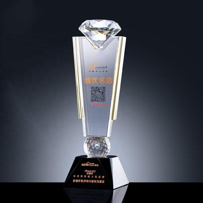 2021 New Design Crystal award trophy Customized engraving Diamond crystal trophy plaque sport crystal golf awards trophy