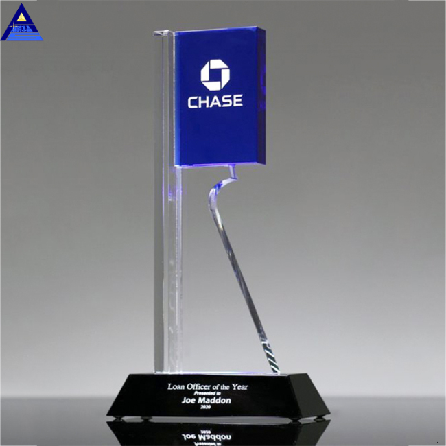Wholesale Cheap Custom Award Crystal Glass Trophy With Engraved Logo