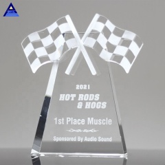 Wholesale Hot Sell High Quality Checkered Flags Crystal Trophy For Sports Award