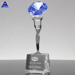 Personalized Crystal Attainment Diamond Sapphire Award Trophy For Corporate Gift