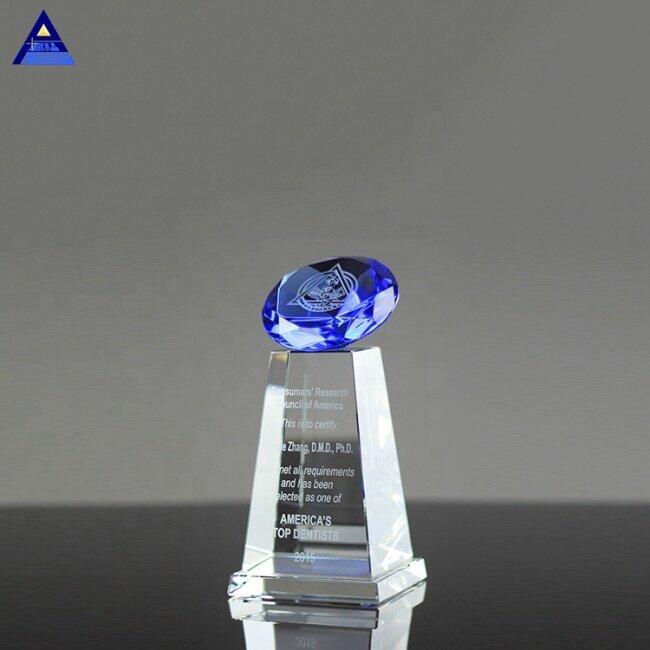 Wholesale Customized Weddings Decoration Blue Diamond Award Crystal