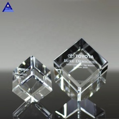 Factory Antique Carved Clear Crystal Cube Paperweight For Sale