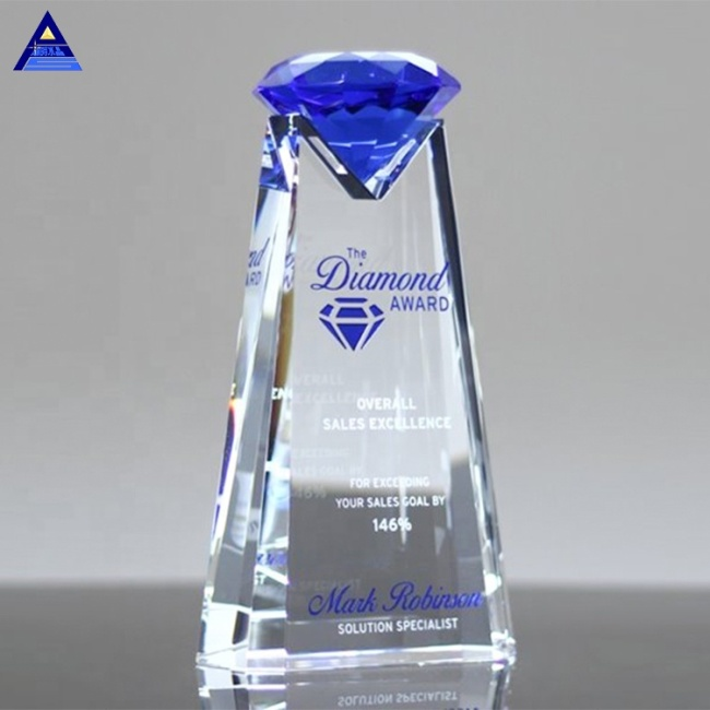Wholesale Cheap Business Gifts Essence Blue Diamond Shape Crystal Awards