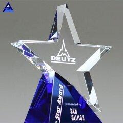 2020 New Design Blue Base Blank Custom Azure Crystal Star Award