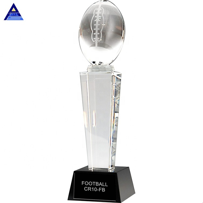 Wholesale China Factory Crystal Glass American K9 Crystal Fantasy Football Trophy