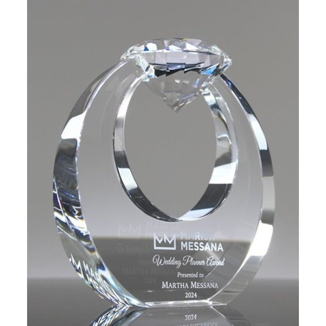Diamond crystal trophy with Engraved Logo/clear crystal diamond trophy/Diamond Shape Crystal Award for business gift