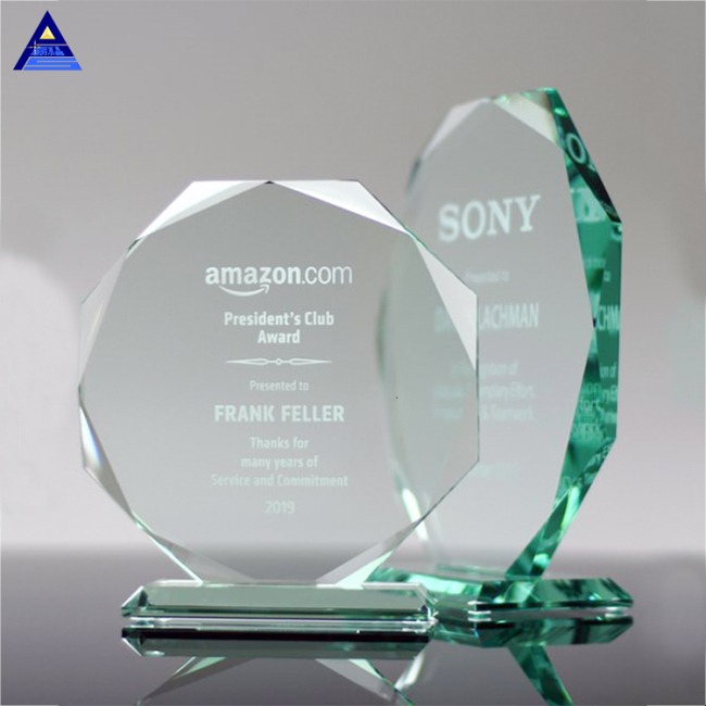 Customized Cheap Crystal Traditional Jade Glass Octagon Award Trophy