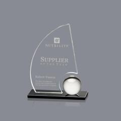 New Design Crystal Sailing Trophy Custom Sailboat Shaped Glass Trophy Award Plaques