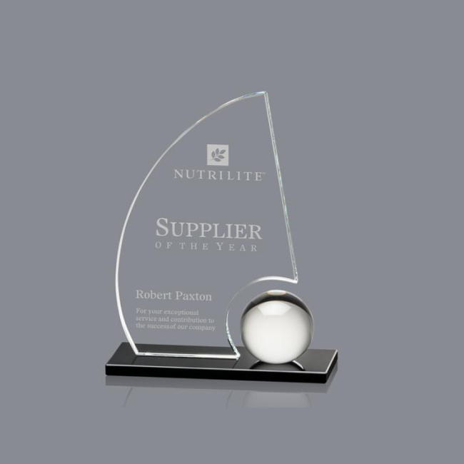 New Design Crystal Sailing Trophy Custom Sailboat Shaped Glass Trophy Award Plaques
