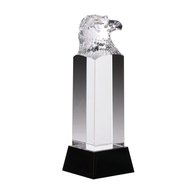 Clear Carved Crystal Eagle Head Awards Trophy for Boss Office Business Awards
