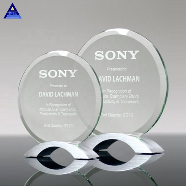 Clear Camber Glass Trophy Circle Shape K9 Crystal Glass Award Blanks For Business Gifts