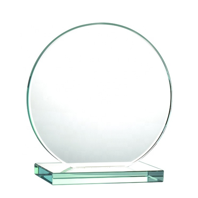 Cheap Wholesale Blank Round Shaped Glass Trophy Awards Crystal Plaque For Anniversary Souvenirs Gifts