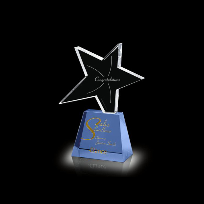 Five Star design crystal Trophy Crystal Stereo Pentagram Trophy for company annual awarding