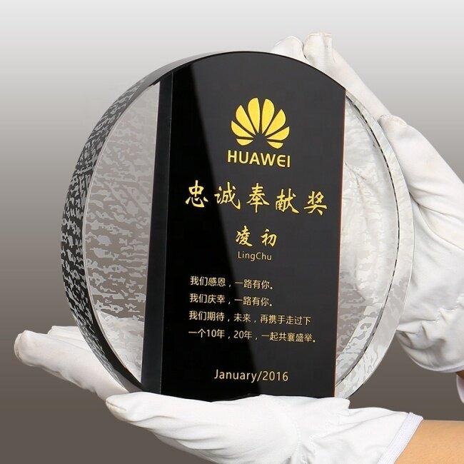 Blank Black Crystal Custom Attractive Design Round Shape Blank Crystal Trophy Award For Festival Souvenir