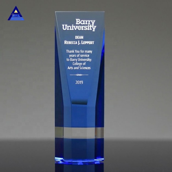 Personalized K9 Quality Obelisk Crystal Trophy Corporate Awards