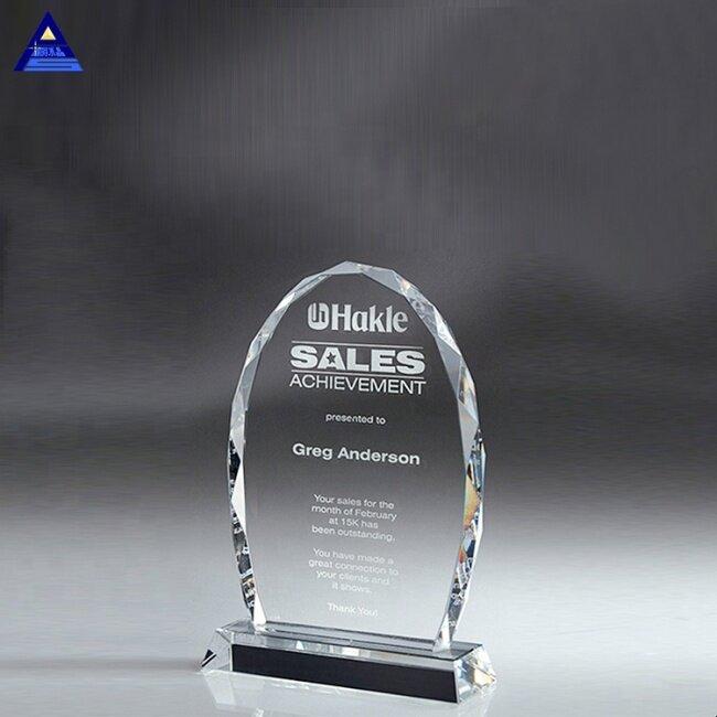 Pujiang Top Quality Shield Shape K9 Custom Oval Shape Art Skyline Crystal Craft