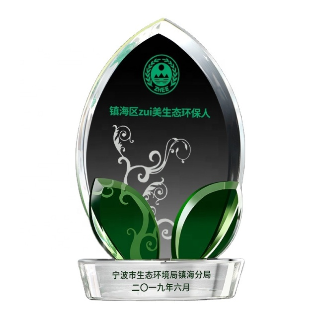 3D Laser Engraved High Quality Clear K9 Crystal Plaque Award Trophy Flame Crystal