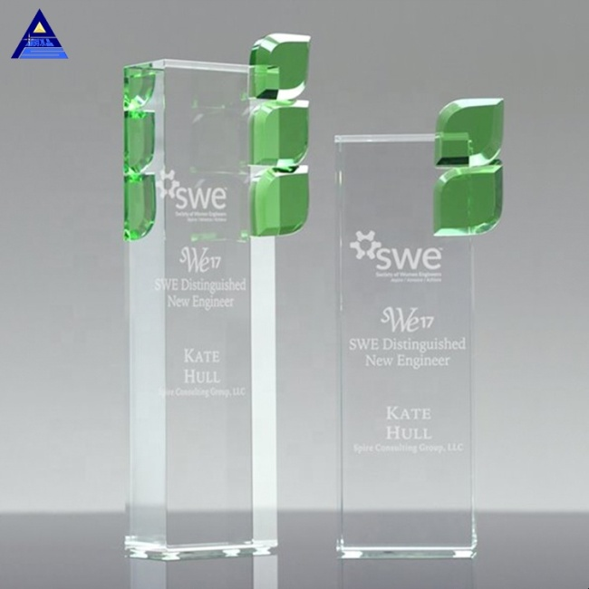 Pujiang Glass Trophy Various Size Crystal Green Leaf Award For Achievement