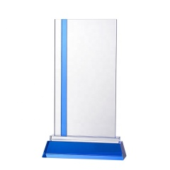 Customized Rectangle Shaped Photo Laser K9 Blank Crystal Glass Trophy Awards With Blue Base