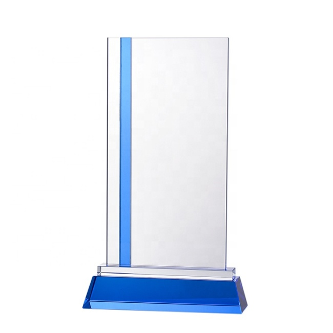 Customized Rectangle Shaped Photo Laser K9 Blank Crystal Glass Trophy Awards With Blue Base