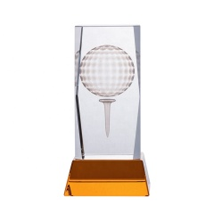 Golf Ball 3D Laser Engraved Blank Crystal Cube And Crystal Golf Trophy Award For Golf Tournament Gifts