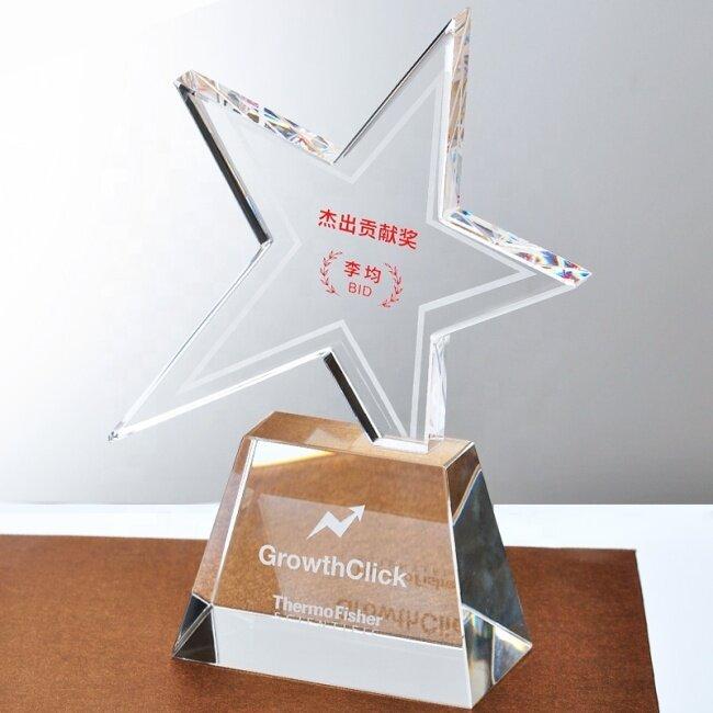 Unique design pentagon crystal trophy star crystal glass awards