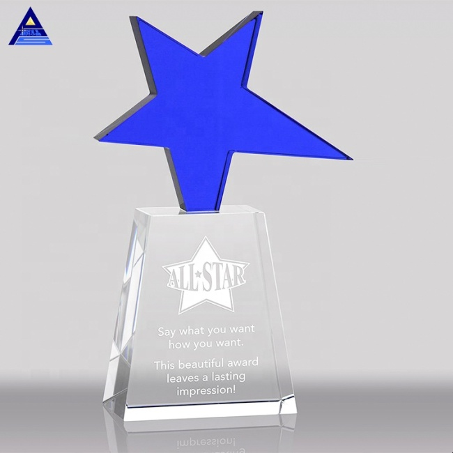 Optical Glass Crystal Blue Color Rising Star Award Trophy