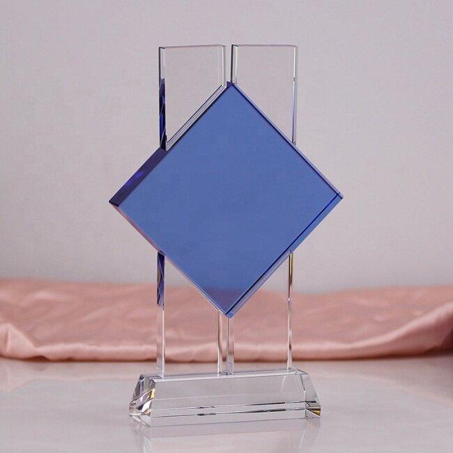 New Design Blue Crystal Trophy Award Custom Glow Crystal Award Clear Glass Trophy