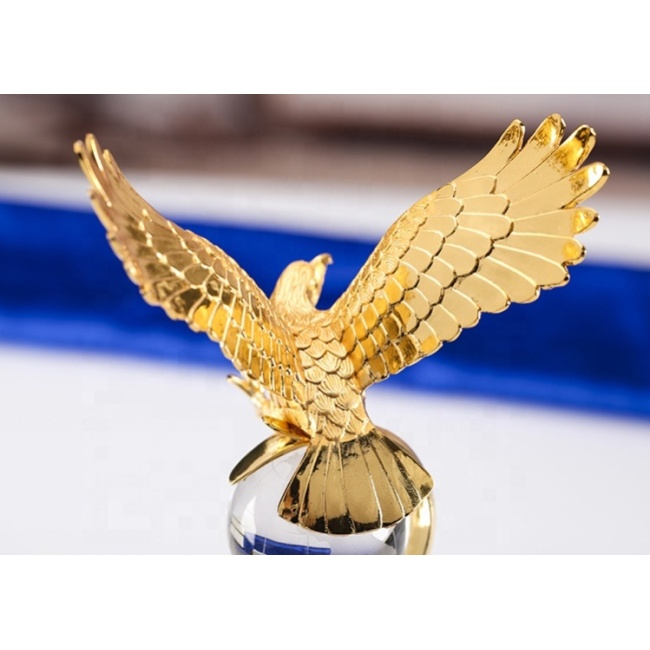 NEW K9 Material Metal Eagle Crystal Trophy Award Sublimation Award Crystal Trophy Cup