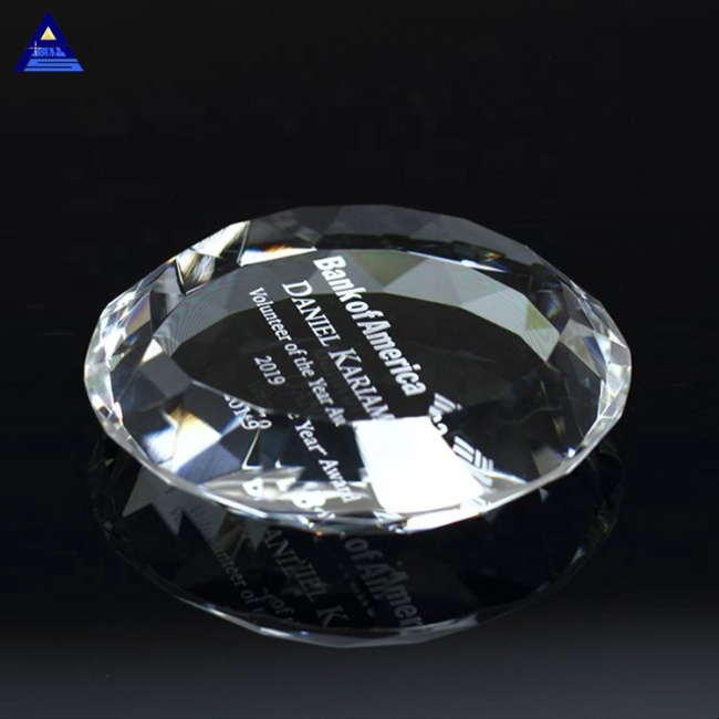 Wholesale High Quality Custom Printing Design Handmade Blank Multifaceted Crystal Round Paperweight