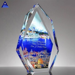 Professional Custom-Made Various Types Of Beautiful Legacy K9 Crystal Trophy With Full Color Imprint Trophy