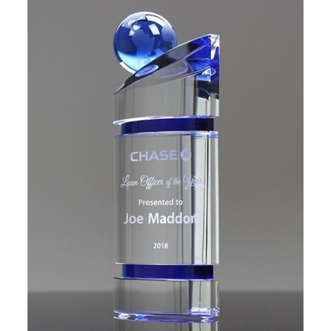 2021 New Design Business Cooperation Award Design clear Crystal Earth Globe Trophy Award