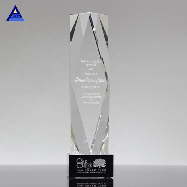 Hot Sale High Quality Obelisk Shaped Engraved Glass Award For Souvenir