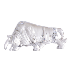 Engraving Stone Crafts Customized Crystal Souvenir Bull Sculpture For Company