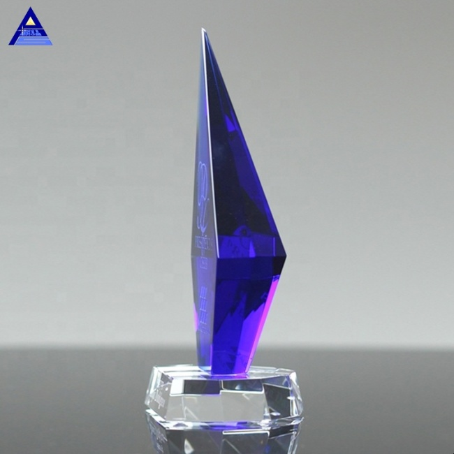 Pujiang Factory Unique Diamond Design Custom Azurite Crystal Trophy Custom Awards and Trophies